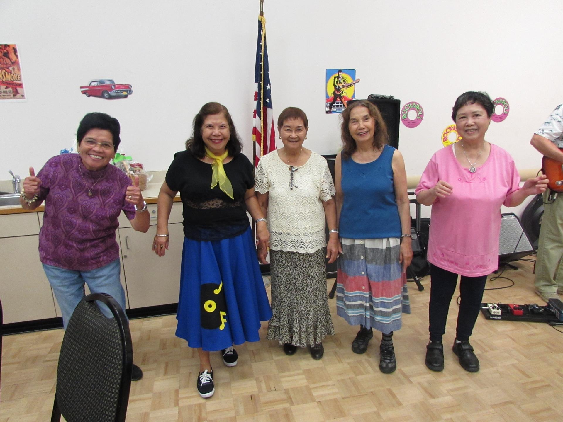 Five ladies at the Senior Center Father's Day celebration