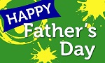 Happy Father's Day text on green and yellow background