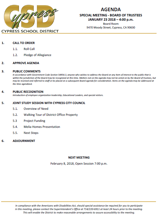Cypress School District Meeting Agenda for January 23, 2018