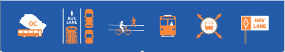 Blue bar graphic with bus, car, bike, and train icons