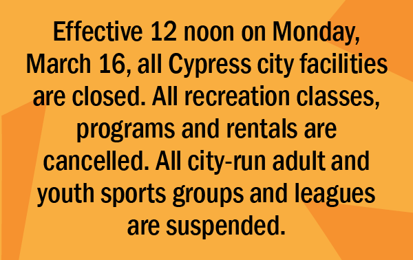The following facilities and programs are suspended